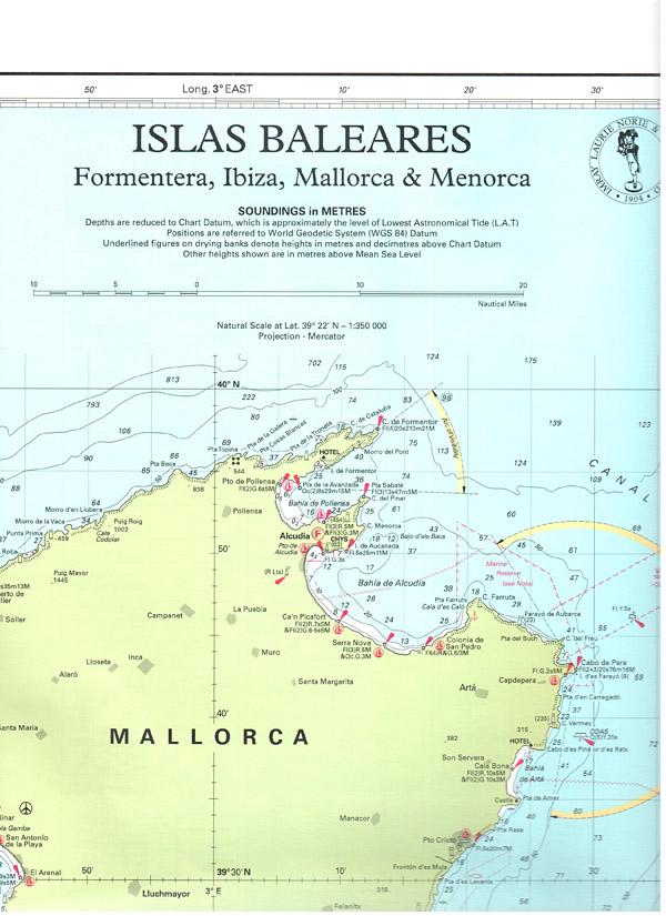 Spanyol Terkep M3 Baleari Bels Merfold Yachting